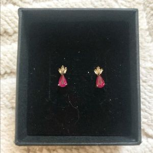 Pear-cut Ruby and Diamond 14k solid gold studs